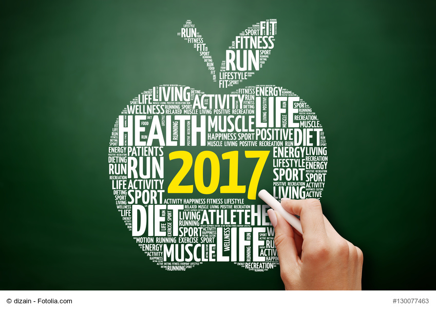 2017 apple word cloud collage, health concept on blackboard