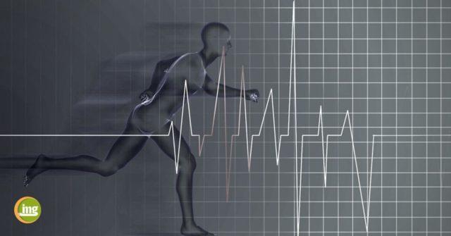 mann rennt mit herzschlag im bild - information mundgesundheit