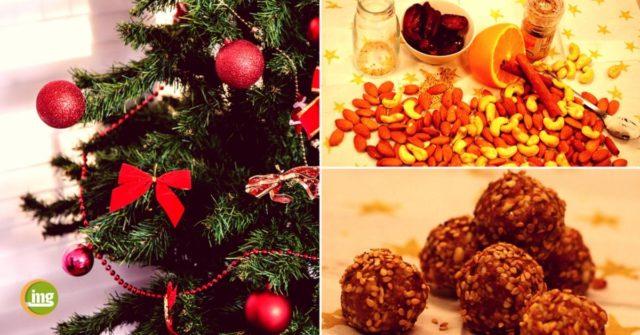 Lecker, süß und auch die Zähne naschen mit. Ein Repept für süsse Weihnachtskugeln mit Datteln, Mandeln und Cashewnüssen bei information-mundgesundheit.
