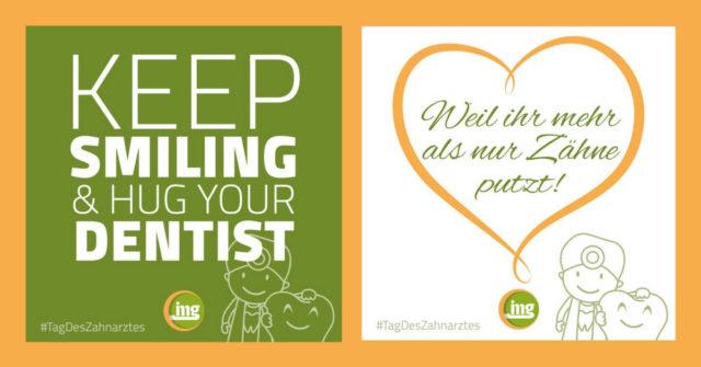 Am 6. März ist der Tag des Zahnarztes. Information Mundgesundheit bietet sechs Grafiken, um dem Zahnarzt Danke zu agen.