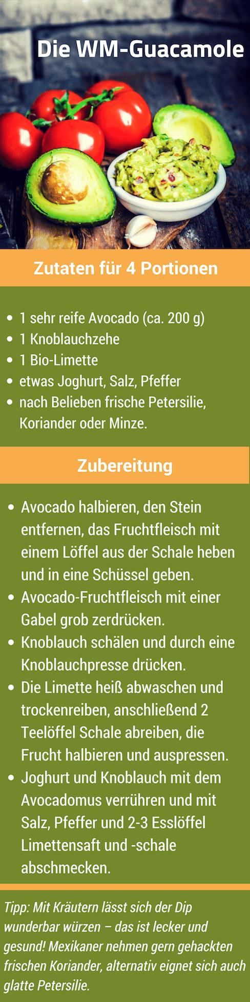 Ein Rezept für leckere und gesunde Guacamole aus Avocado