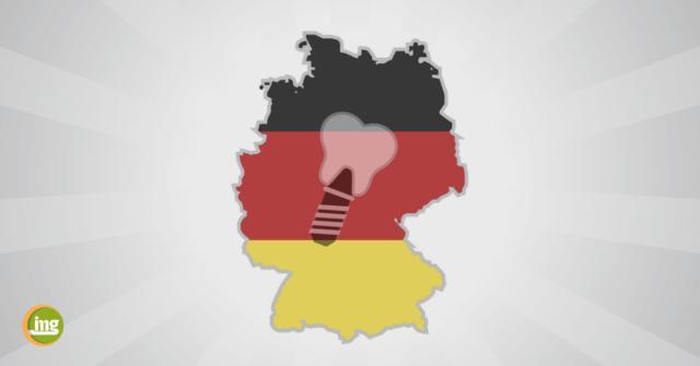 Zahn und Zahnimplantat auf Deutschlandfahne. ZUm Tag der deutschen Einheit informieren wir zur Mundgesundheit in Ost und West.