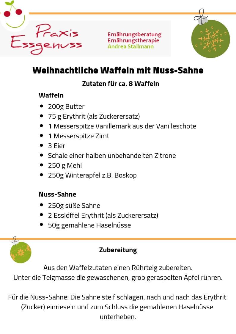 Rezept von der Praxis Essgenuss aus Krefeld / Andrea Stallmann: Weihnachtliche Waffeln mit Nuss-Sahne