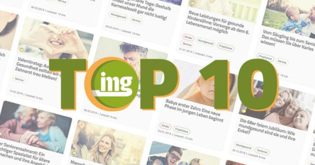 Grafik zur Top 10 der meistgelesenen Artikel zum Weltmundgesundheitstag 2019